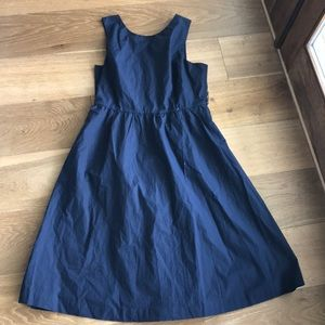J. Crew Navy Midi Cotton Dress